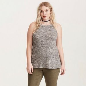 Torrid Plus Size Ribbed Knit High Neck Tank Top